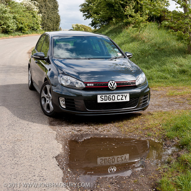 Golf GTi front reflected